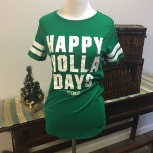 PINK Happy Holidays Green White T Shirt XS